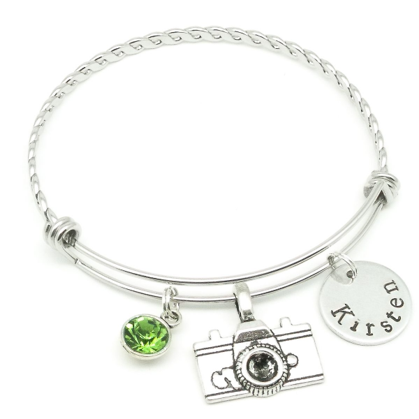 Camera  name bracelet jewellery personalised gift